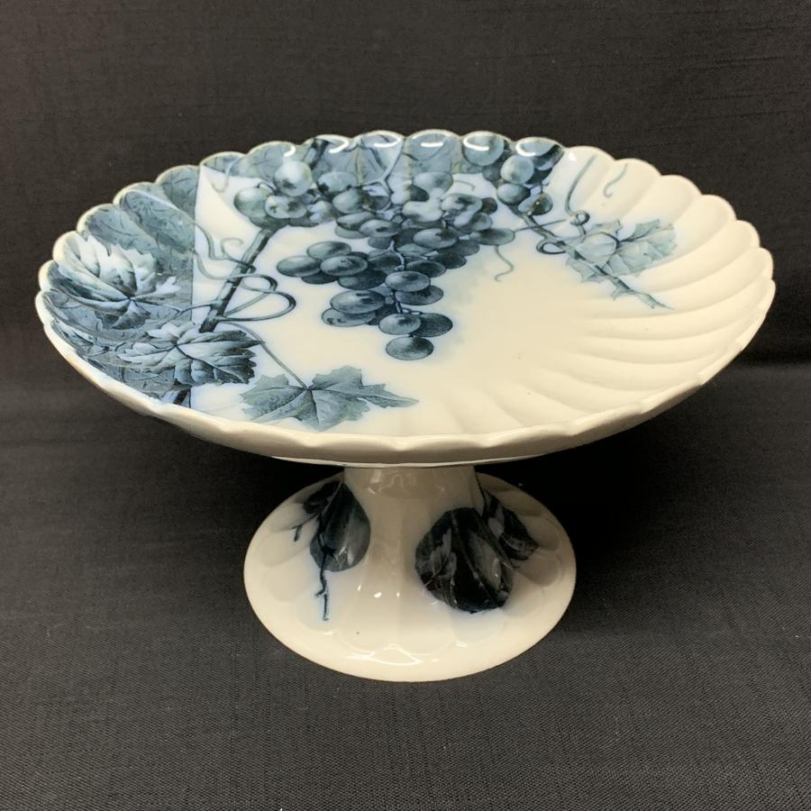 Mulberry Blue Gainsboro Tazza Comport ~ Grapes and Peaches 1884