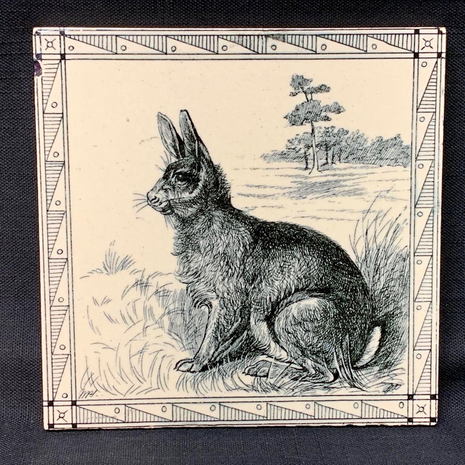 Minton Black Transferware Tile Victorian ~ Rabbit 1885