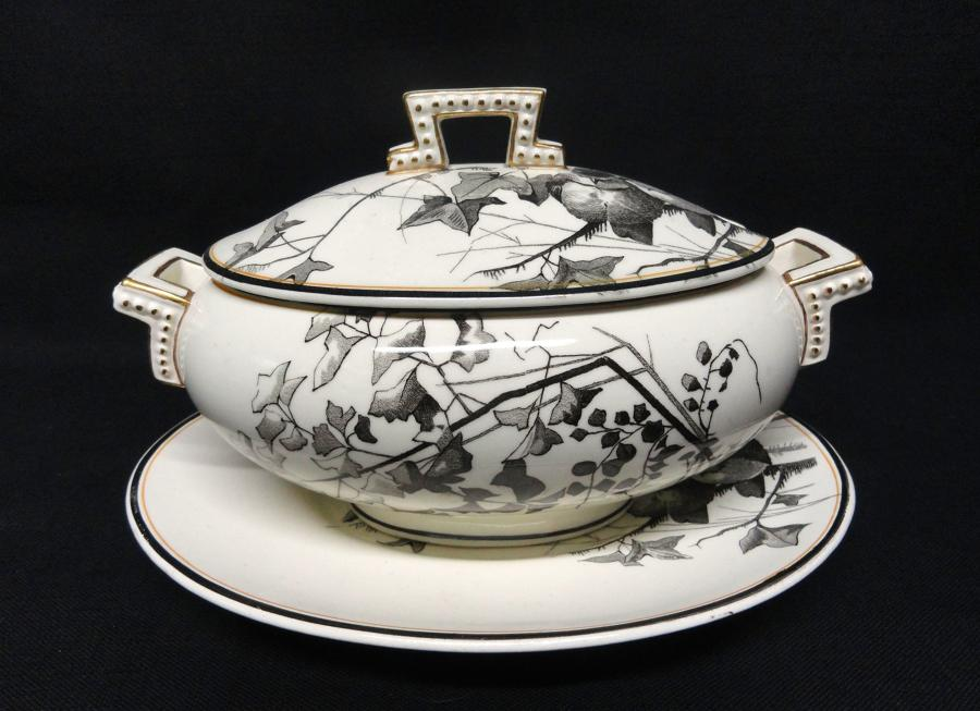 RARE Brown Staffordshire ORNITHOLOGY Canova Sauce Tureen ~ BIRDS 1870