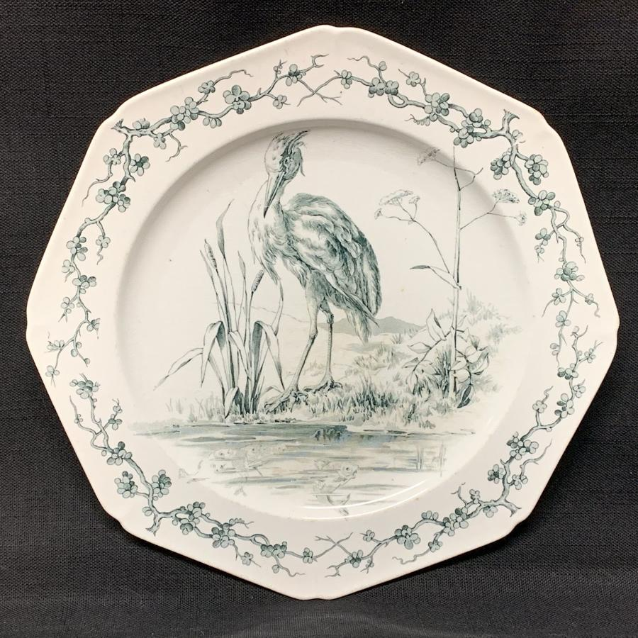 Rare Black Earthenware Fables Plate ! 1880 Cormorant and Fishes