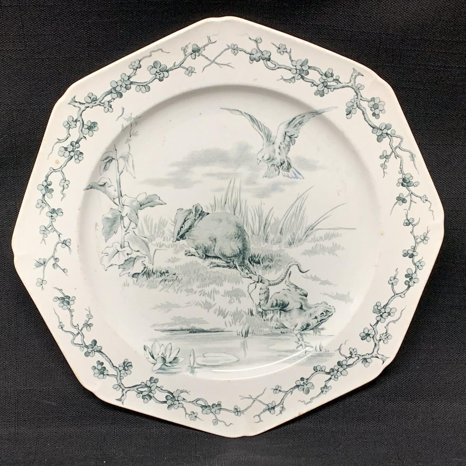 Rare Earthenware Fables Plate ~ Frogs and Rat 1880