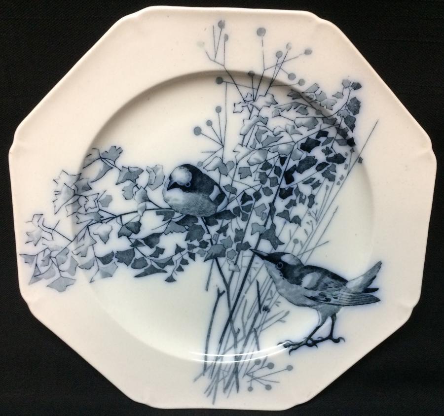 1882 ~ Artist Pierre Mallet Blue Transferware ORNITHOLOGY  Plate
