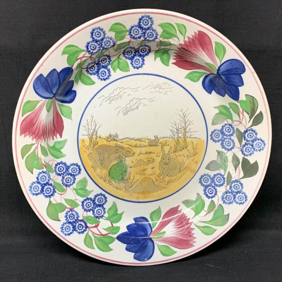 Stick Spatter Rabbitware Ironstone CHARGER Platter ~ 1900