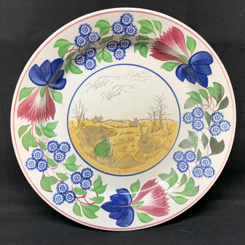 Stick Spatter Rabbitware Ironstone CHARGER Platter ~ 1900
