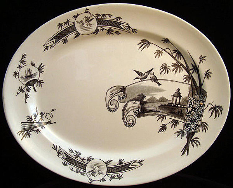 Large Aesthetic Black Transferware Platter ~ NANKIN 1881