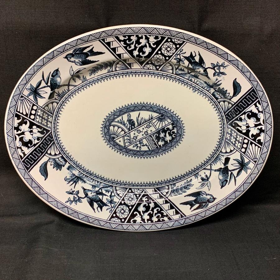 Victorian AESTHETIC MOVEMENT TRANSFERWARE PLATTER ~ CONGO 1883
