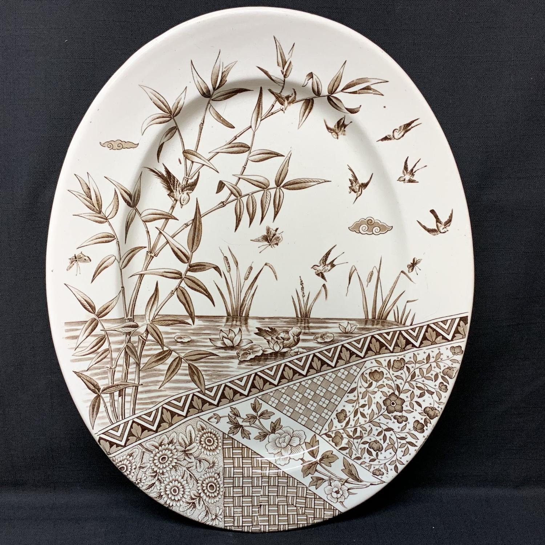 Superb Brown Transferware Platter ~ BURMAH ~ Staffordshire 1883