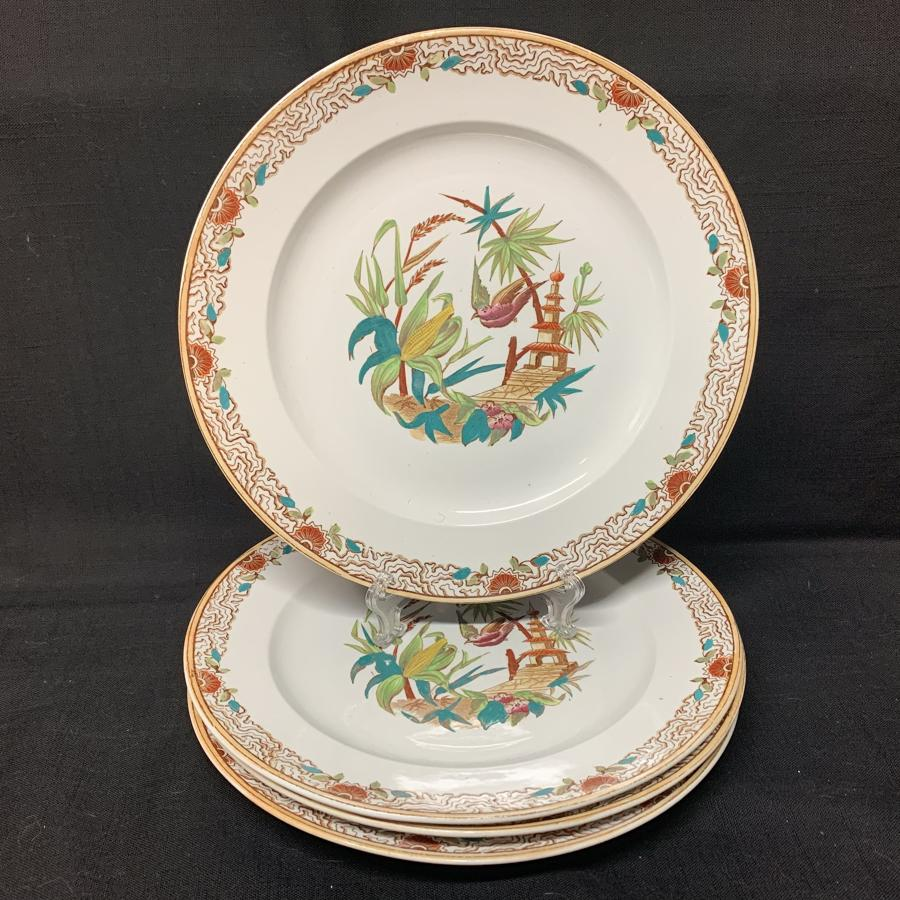 Four Brown Transferware Polychrome Cabinet Plates ~ 1880 PEKING