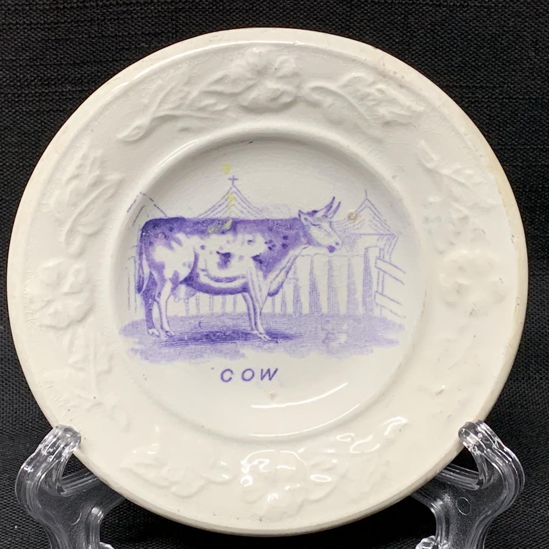 Pearlware Purple Transfer Plate ~ COW ~ 1840
