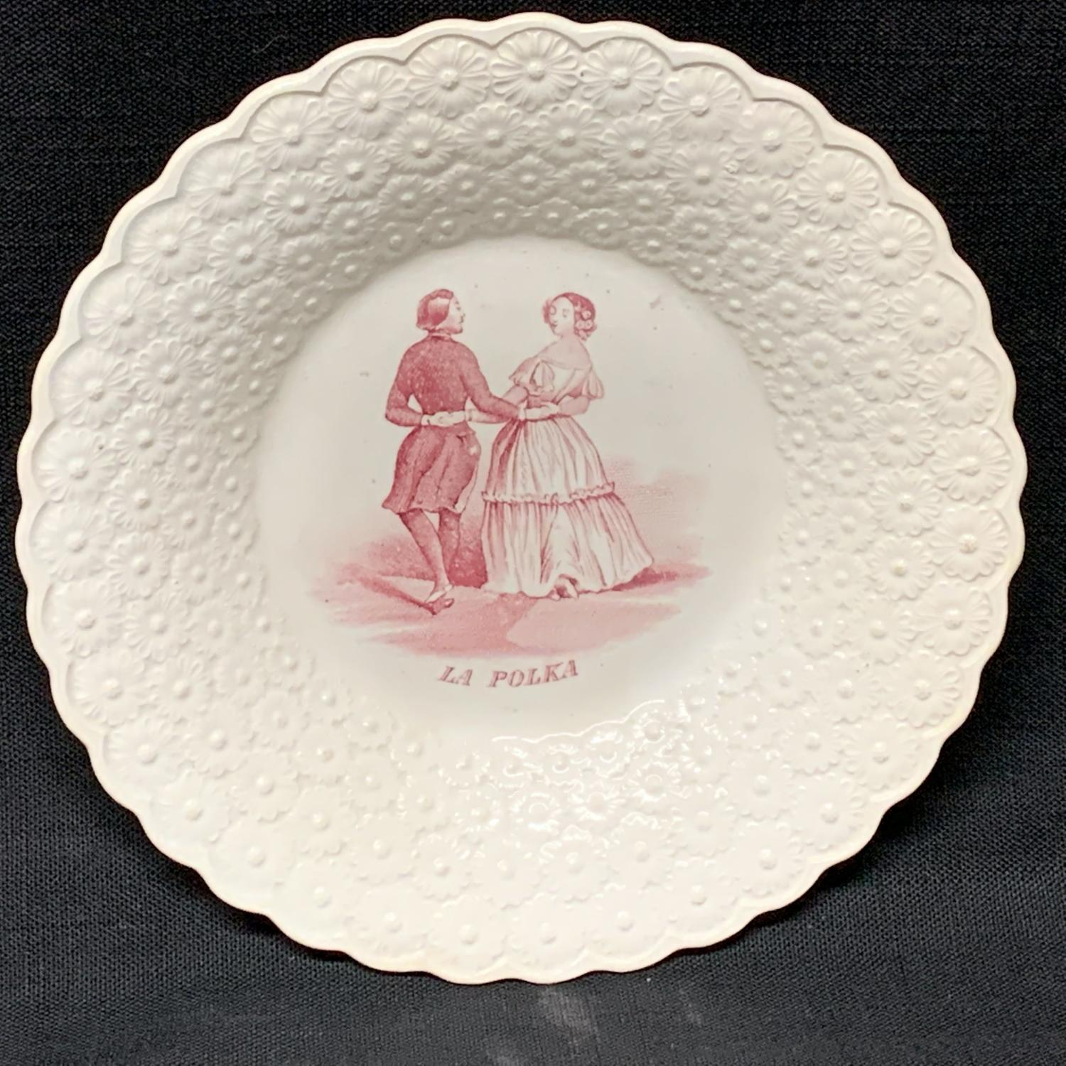Early Staffordshire Pearlware Child's Plate ~ LA POLKA ~ 1830