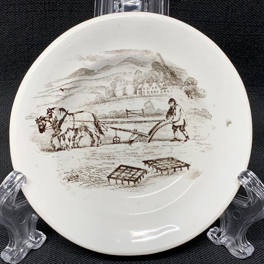 Staffordshire Child's Plate ~ Plowing with Horses 1830