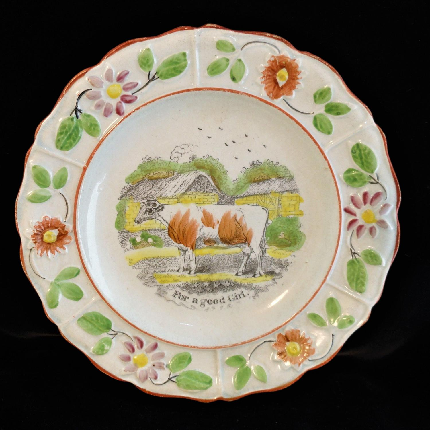 Pearlware Reward of Merit Plate for a Good Girl c1820 MILKING COW Staf