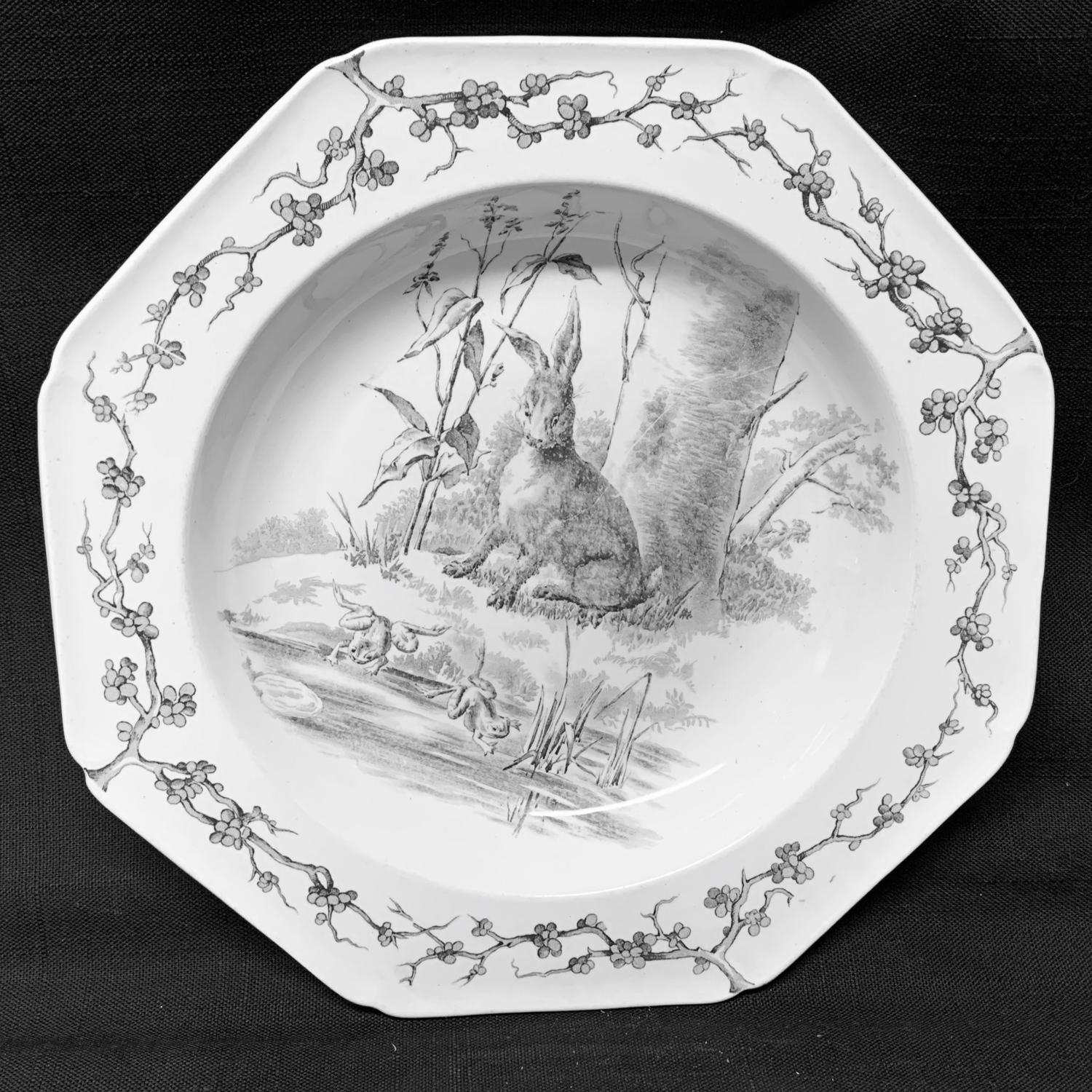 Grey Black Earthenware Fables Soup Plate ~ Hare and Frogs 1880