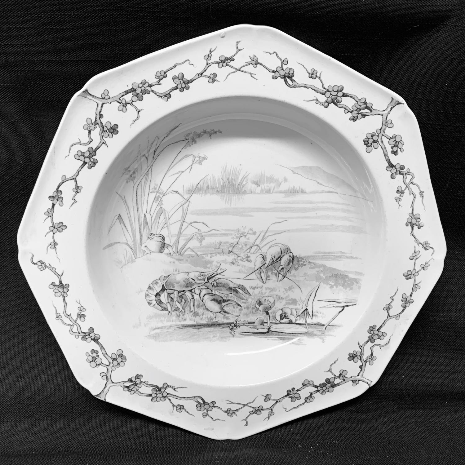Grey Black Fontaine's Fables ~ Lobsters with Frog Soup Plate 1880