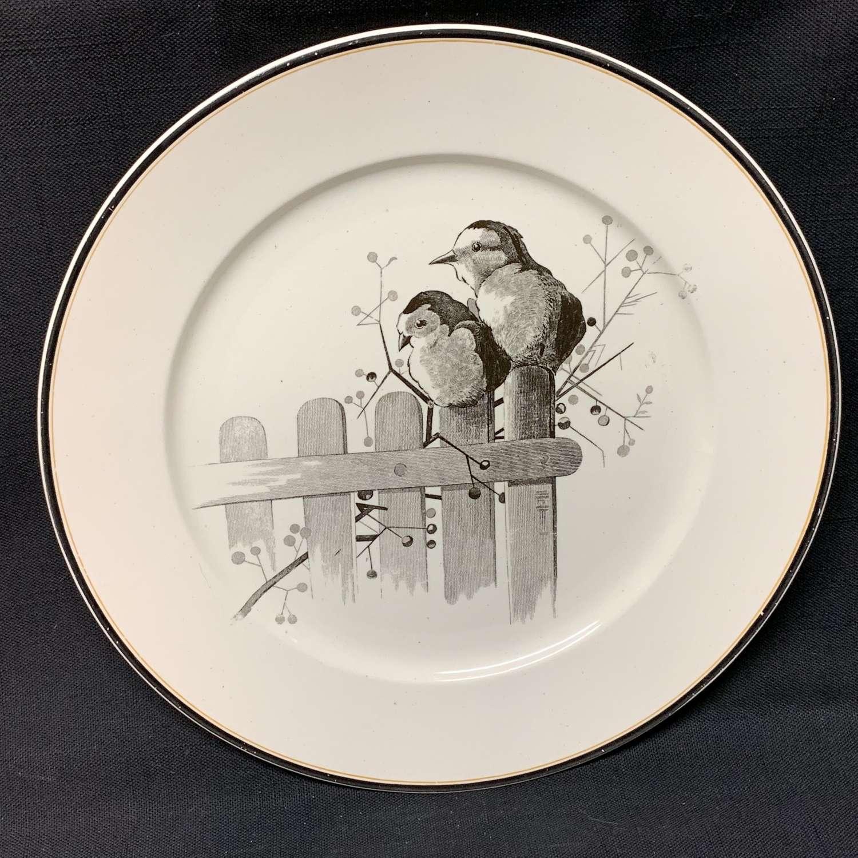 Pierre Mallet Brown Transferware ORNITHOLOGY Canova Plate ~ 1870