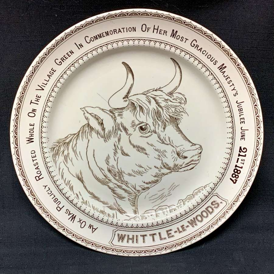 English Ironstone Adverting Plate Whittle-le-Woods ~ OX ROAST 1887