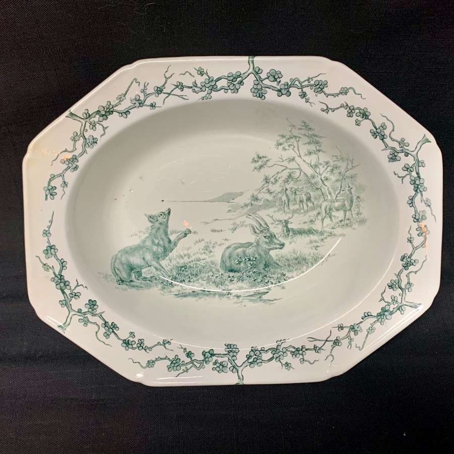 Rare Gray Black Earthenware Aesops Fables Vegetable ~  Deer & Fox 1880