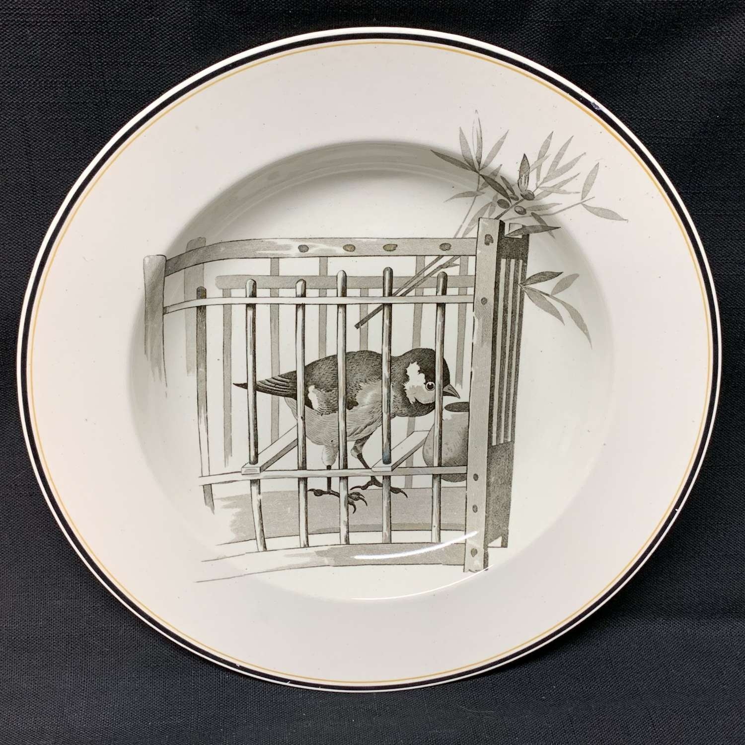 Pierre Mallet Brown Transferware ORNITHOLOGY Canova Soup Plate ~ 1870