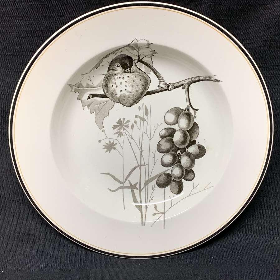 Pierre Mallet Brown Transferware ORNITHOLOGY Canova Soup Plate ~ 1870