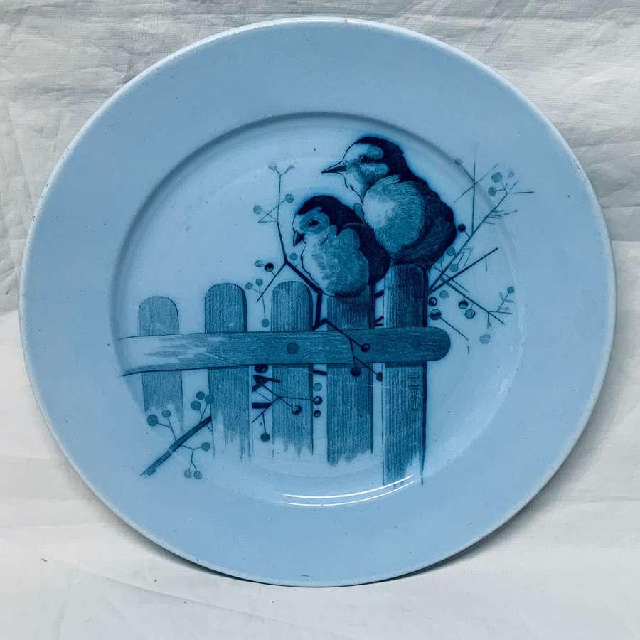 Pierre Mallet Blue Transferware ORNITHOLOGY Canova Plate ~ 1870