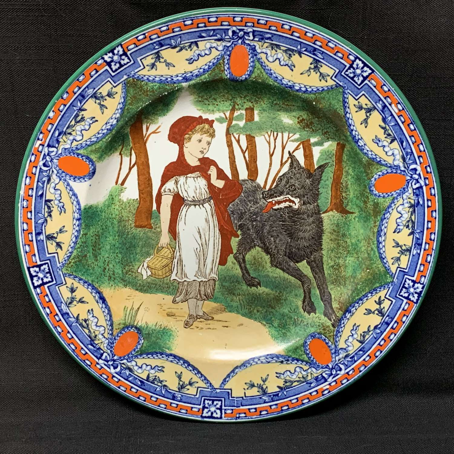 1879 ~ Wedgwood Transferware Plate ~ Red Riding Hood and Wolf