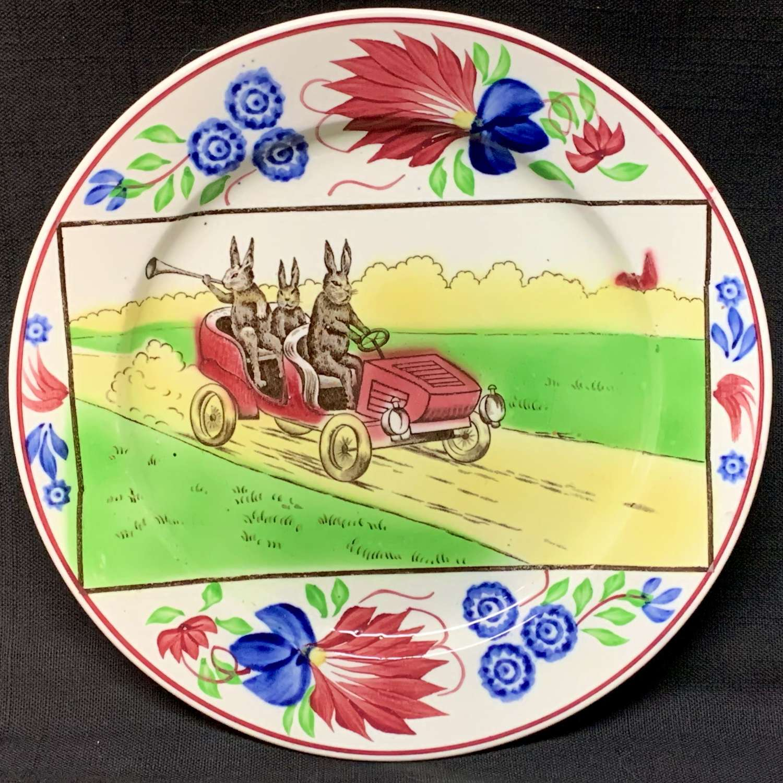 Stick Spatter Spongeware Rabbitware Rabbit Plate ~ Jalopy Car c 1900