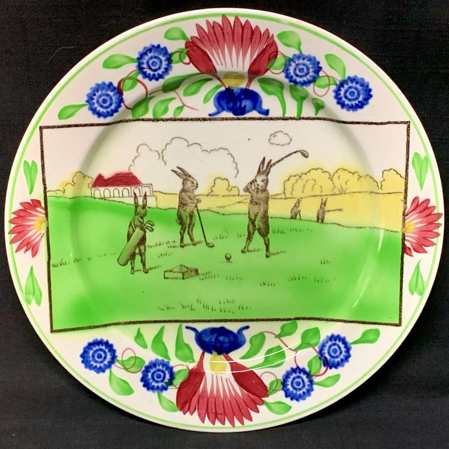 Stick Spatter Spongeware Rabbitware Rabbit Plate ~ GOLF c 1900