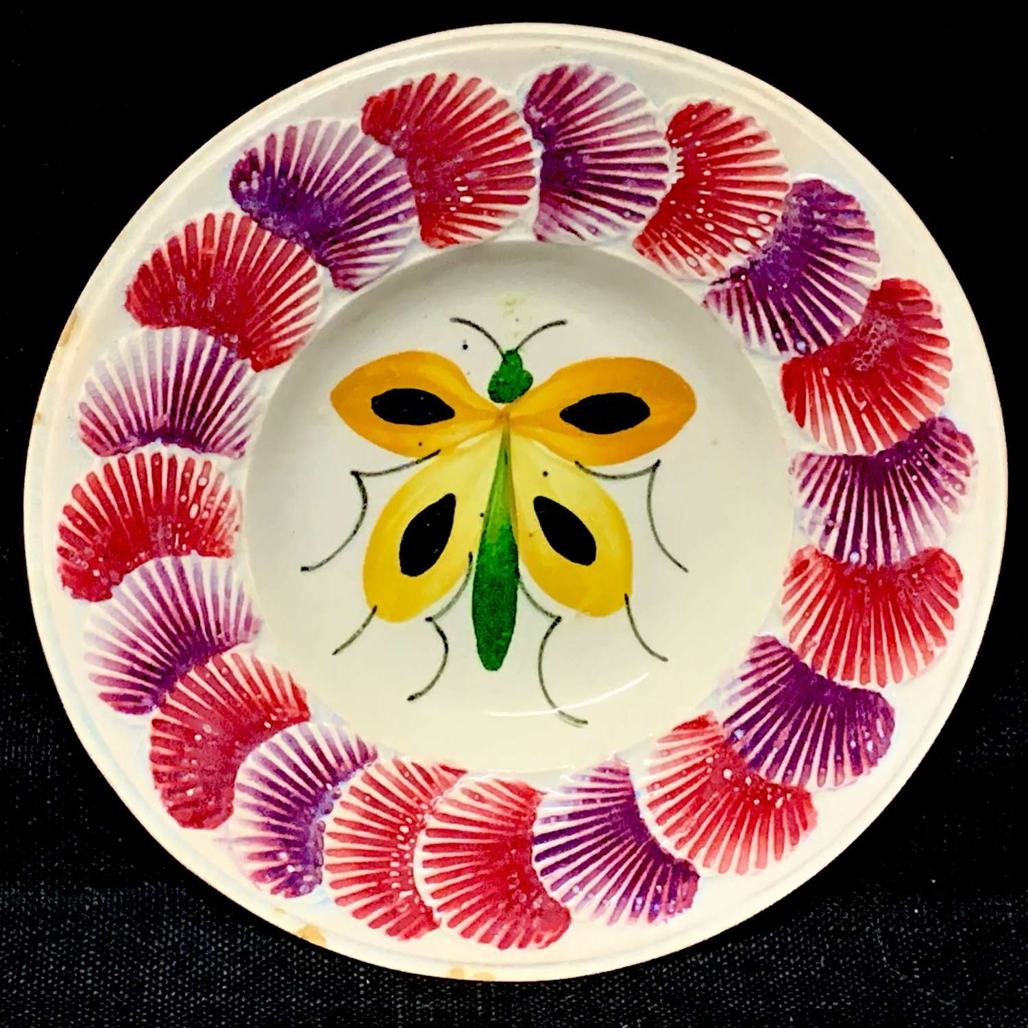 1830 Staffordshire Child's Plate ~ BUTTERFLY Shell Border