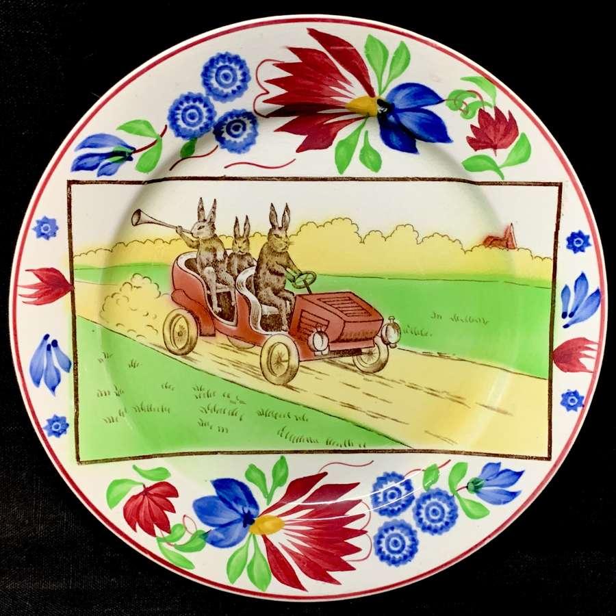 Spongeware Stick Spatter Rabbitware Ironstone Plate ~ Jalopy Car c1900