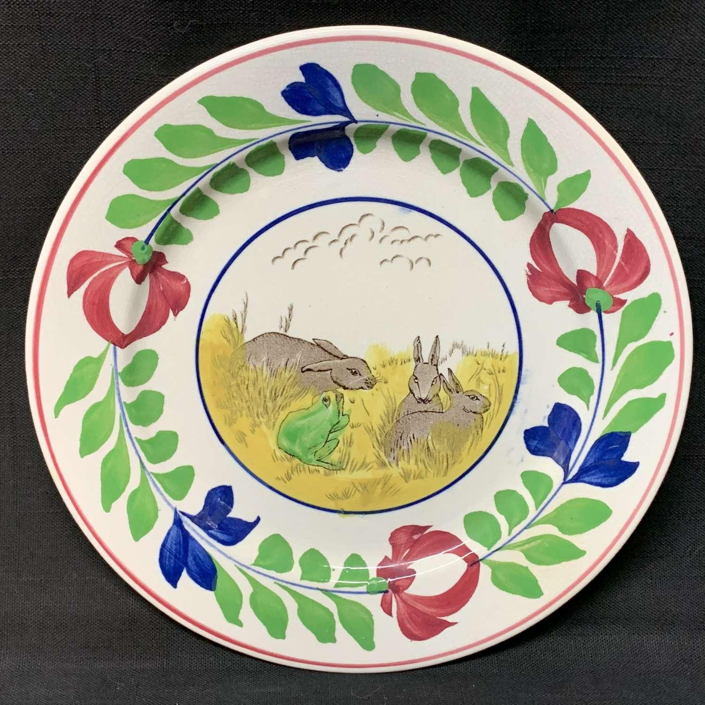 Spongeware Rabbitware Ironstone Plate ~ Adams Rose 1900