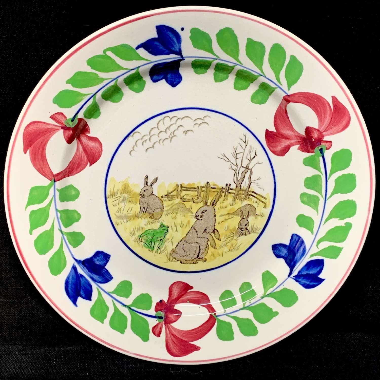 Antique Spongeware Rabbitware Ironstone Plate ~ Adams Rose 1900