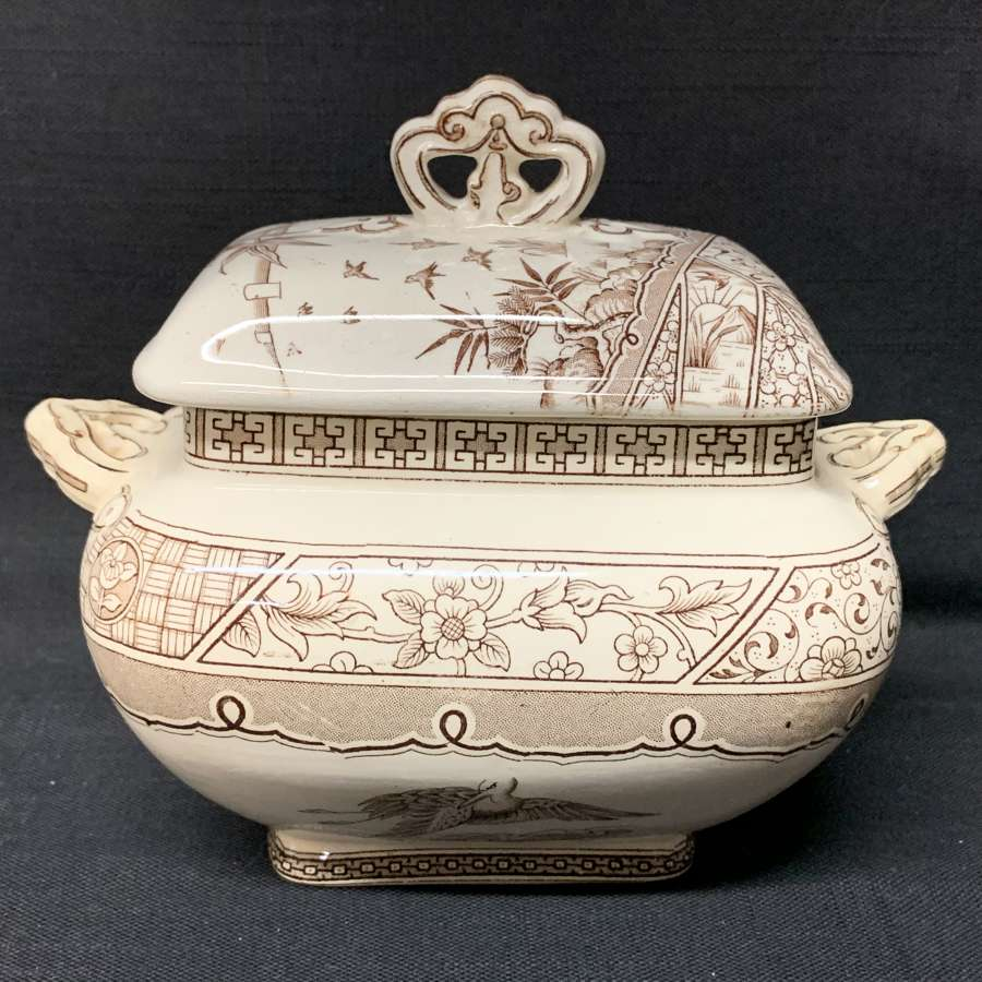 English Victorian Brown Transferware Sauce Tureen ~ MELBOURNE 1883