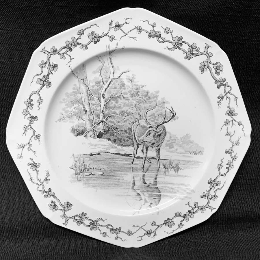 Rare Gray Black Earthenware Fables Plate  Stag & Reflection Plate 1880