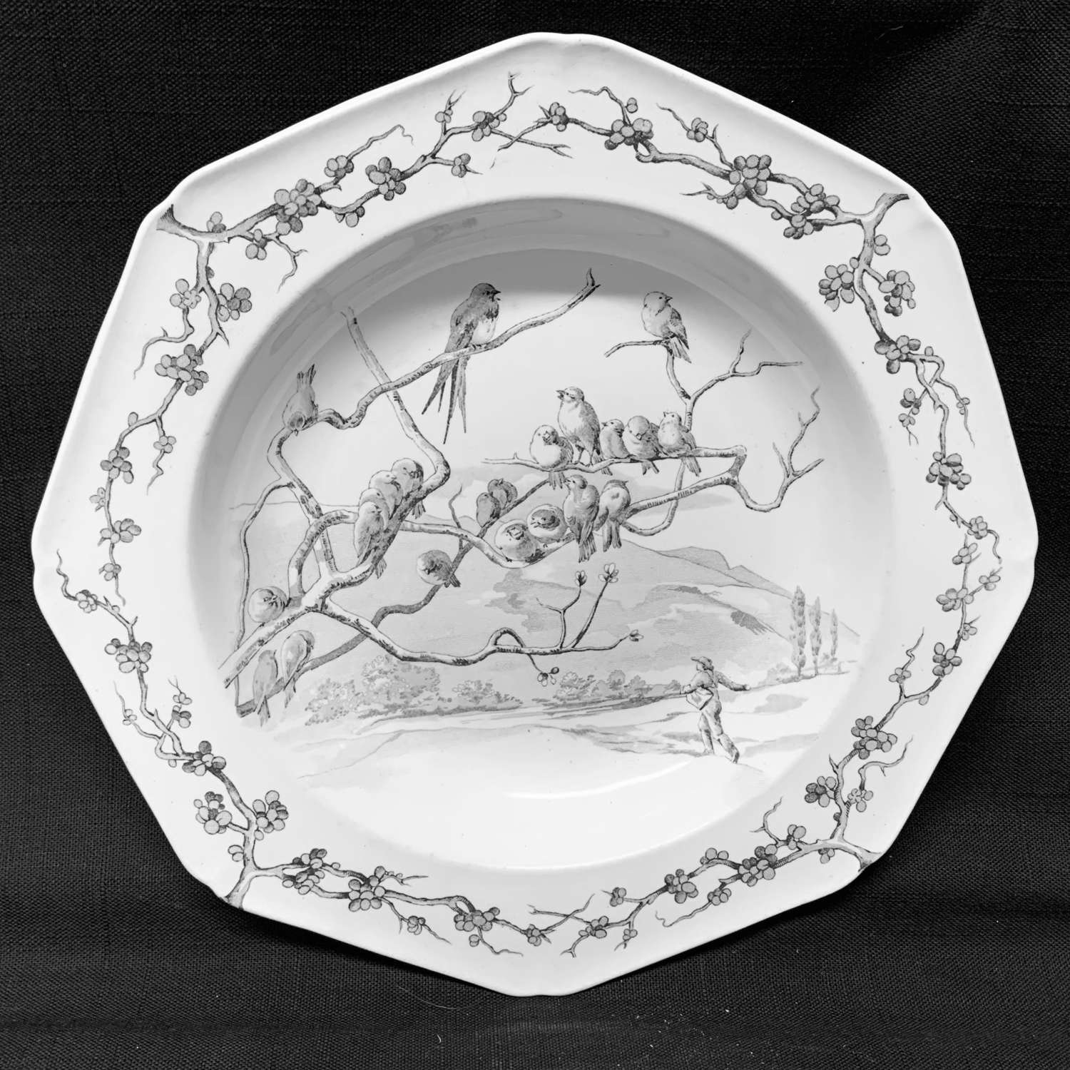 Grey Black Fontaine's Fables Farmer & Jackdaws Soup Plate 1880
