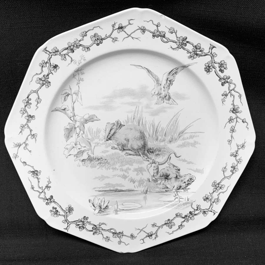 Rare Gray Black Earthenware Fables Plate ~ Frogs and Rat 1880