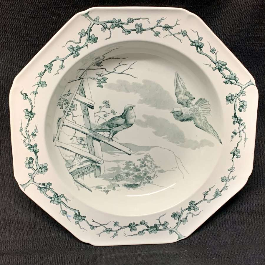 Grey Black Fontaine's Fables ~ Two Doves Soup Plate 1880