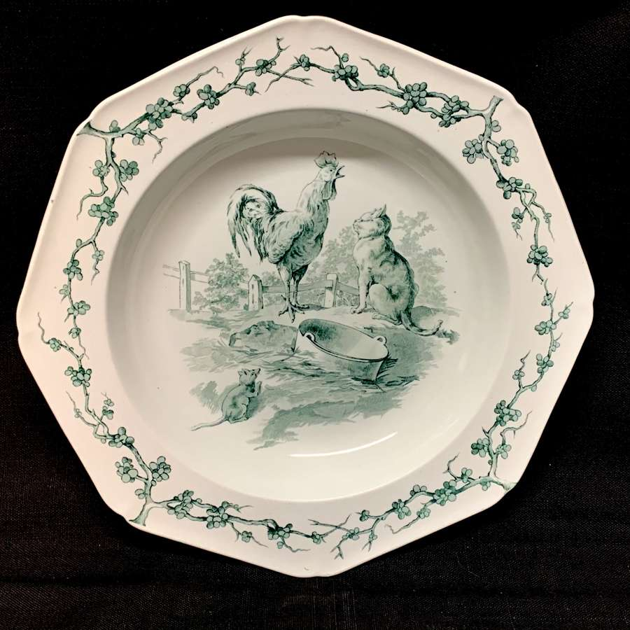 Grey Black Fontaine's Aesops Fables ~ Cat & Rooster Soup Plate 1880