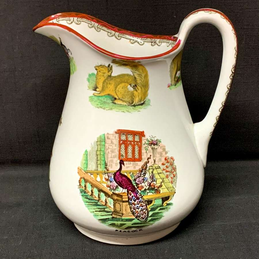 ANIMALS Elsmore Forster Water Jug Pitcher Staffordshire England c1860