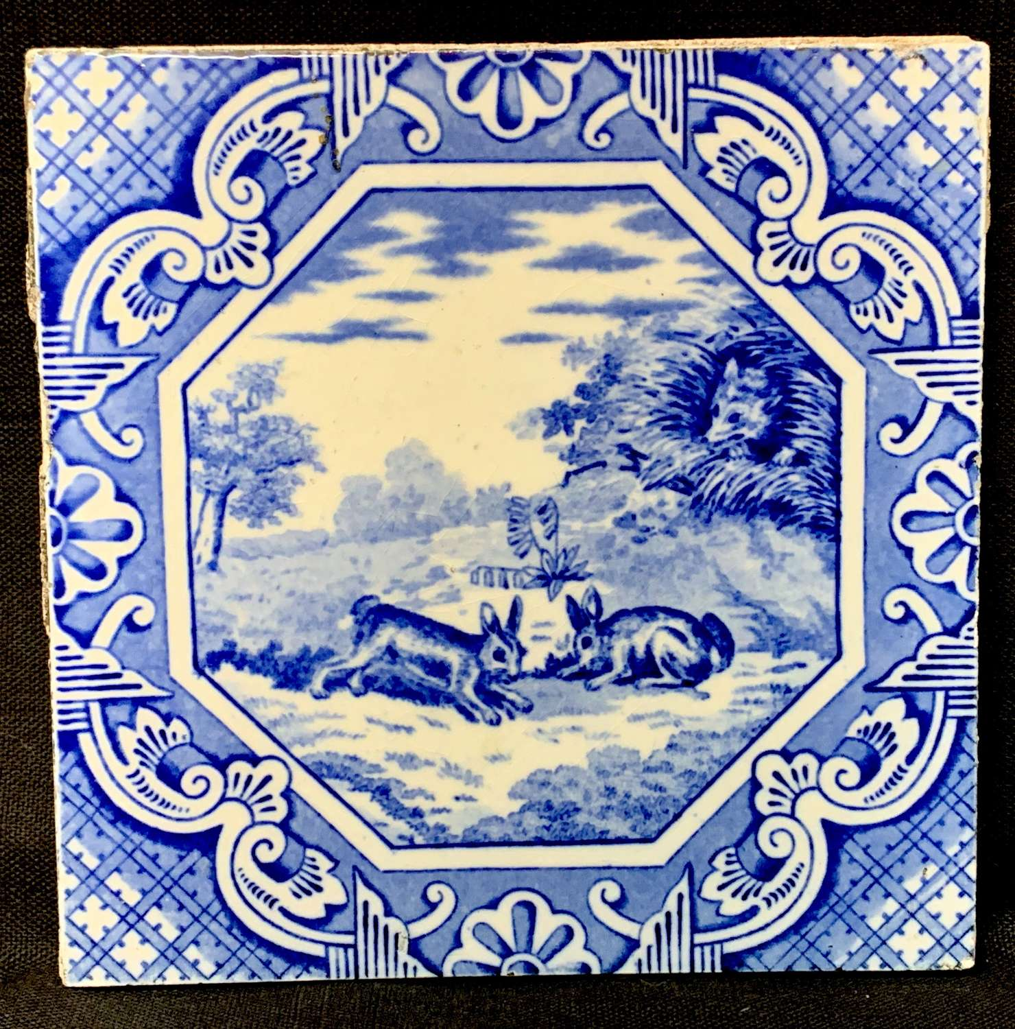 Minton & Hollins Tile ~ Aesop Fable ~ Rabbits and Fox ~ 1870