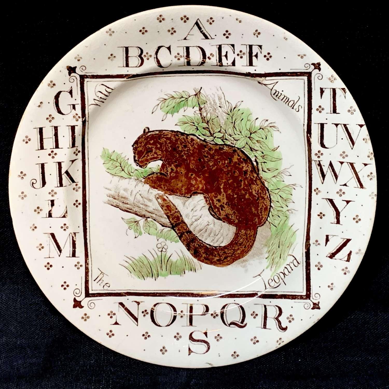 Antique ABC Plate ~ Wild Animals ~ The LEOPARD 1880
