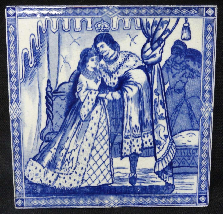 Antique Blue Victorian Antique CINDERELLA Tile ~ 1880