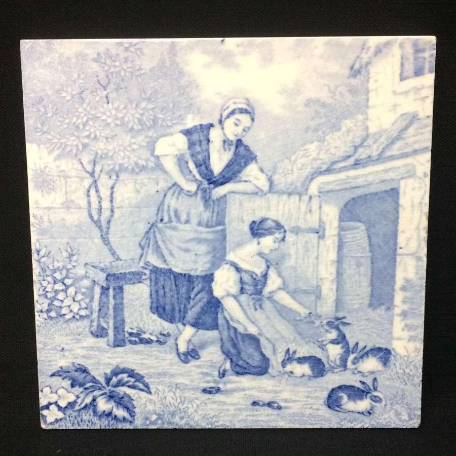 1879 ~ Tile Children Rural Life Victorian Rabbits ~ 1879