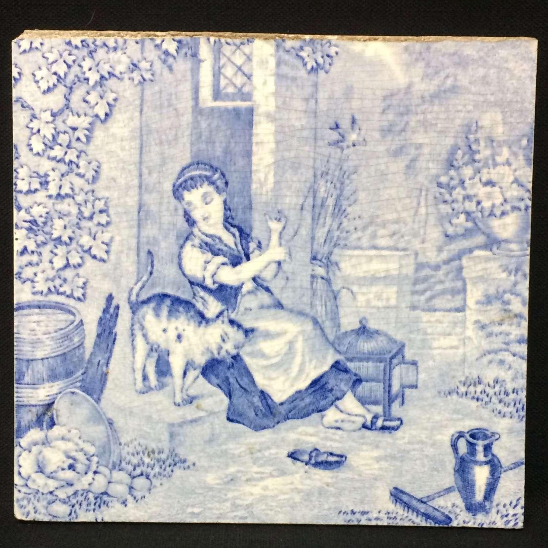 1880 ~ Tile Children Rural Life Victorian Cat ~ 1879