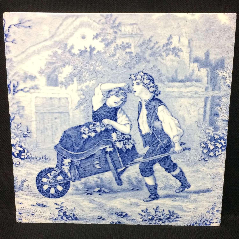 1880 ~ Tile Children Rural Life Victorian Grapes ~ 1880