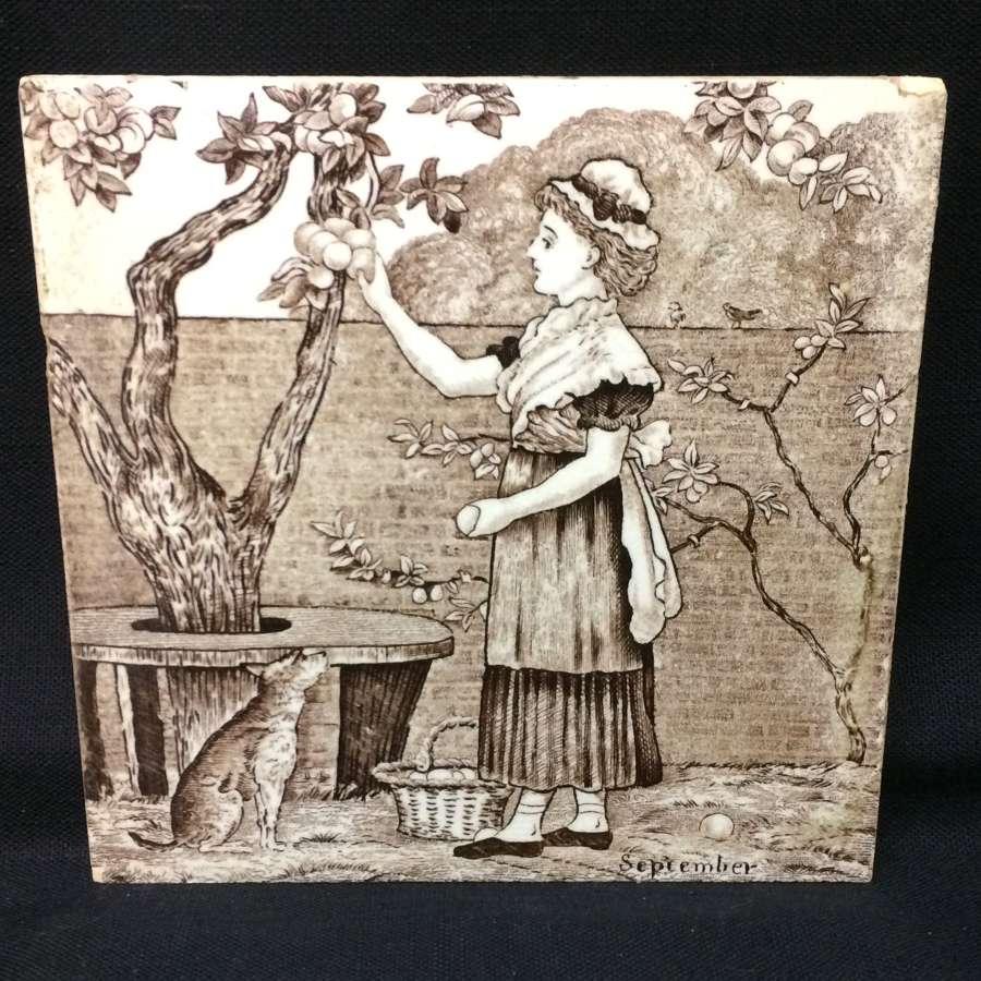 Tile ~ Wedgewood Month Series SEPTEMBER Helen Miles 1879