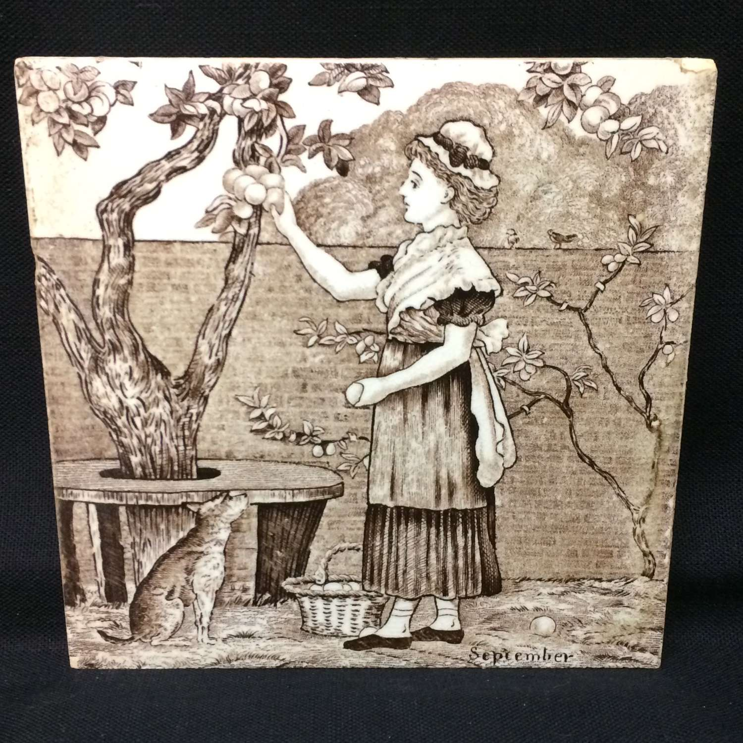 Tile ~ Wedgewood Month Series SEPTEMBER Helen Miles 1879