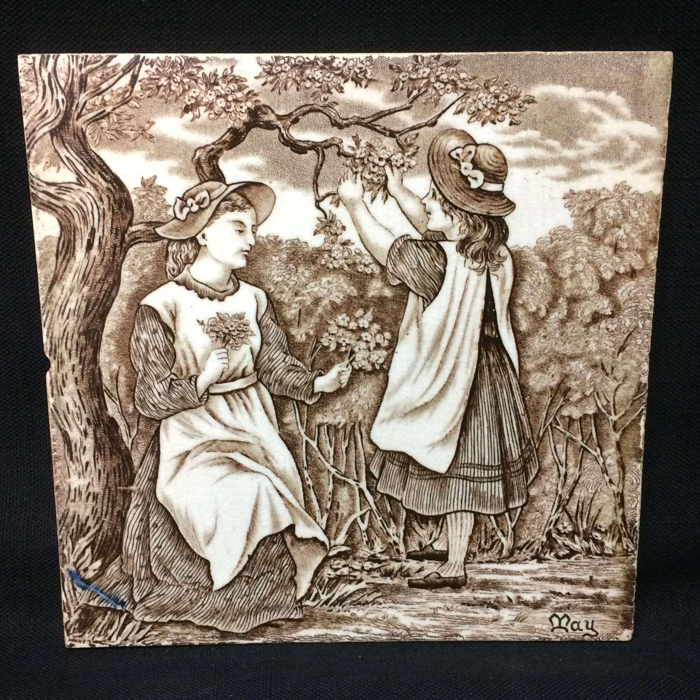 Tile ~ 1879 ~ Wedgwood Months ~ MAY ~ Helen Miles Artist