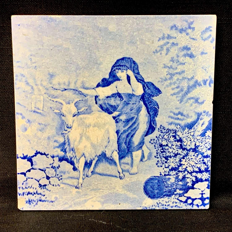 1880 ~ Tile Children Rural Life Victorian Goat ~ 1880