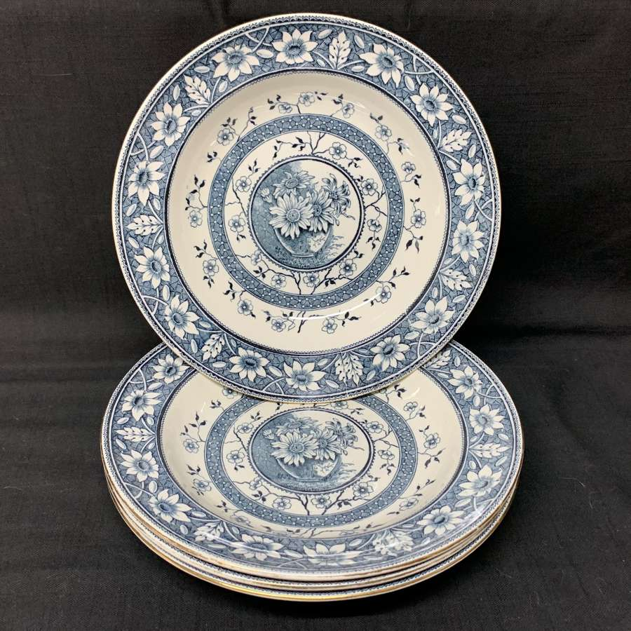 Four Palmyra Aesthetic Movement Blue Transferware Soup Plates ~ 1883