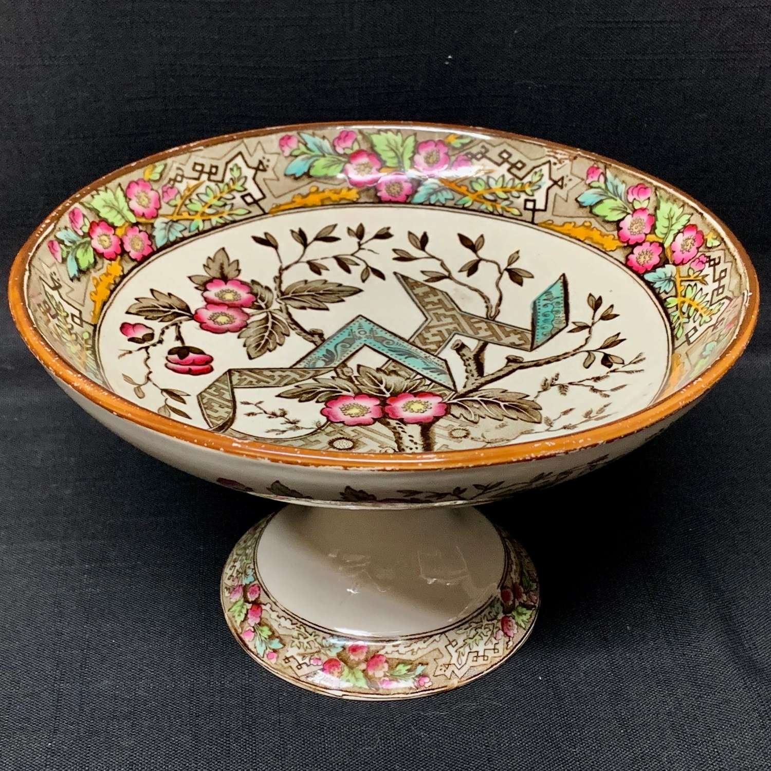 Aesthetic Movement Brown Transferware Stand ~ Wedgwood Beatrice 1880